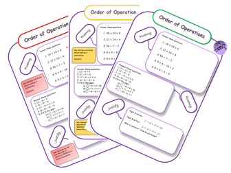 Order of Operations (BIDMAS) Differentiated Mastery Worksheets