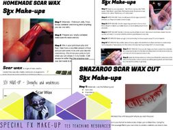 SFX MU Special Effects Make-up   Instructional Handout with Activity Scar  wax & Liquid Latex