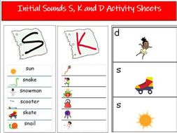 Initial Sounds S, K and D Activity Sheets