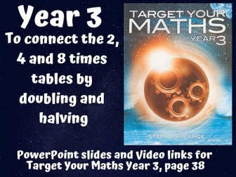 Connect the 2, 4 and 8 times tables by doubling and halving