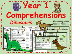Year 1 Comprehensions - Dinosaurs - 3 Levels - Colour and Black & White