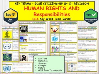 GCSE CITIZENSHIP 9-1   - Human Rights and Responsibilities  x16 Key term Words  Topic Revision Cards