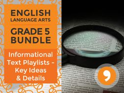 Informational Text Playlists - Key Ideas and Details Bundle for Grade 5