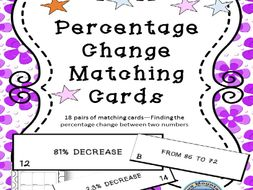 Percent of Change Matching Card Set