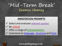 Seamus Heaney – 'Mid-Term Break' – Annotation / Planning Table / Questions / Booklet