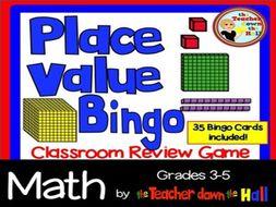 Place Value Bingo w/ 35 Bingo Cards Grades 4-5