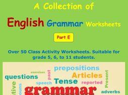 English Grammar Worksheets Part E