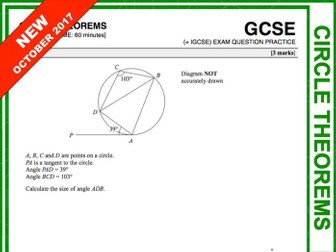 GCSE 9-1 Exam Question Practice (Circle Theorems)
