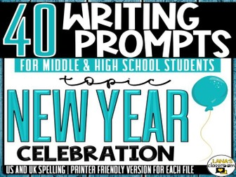 Daily Writing Prompts | New Year's | Middle and High School