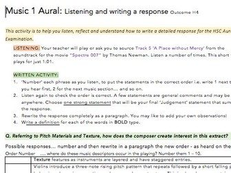HSC Music Exam 'Writing your response' exercise/lesson