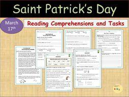 St Patrick's Worksheets Reading Comprehension Gap filling, Homophones, Alphabetical Order - Myths