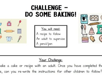 Home learning - Baking Challenge