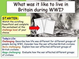 Impact of  WWI on civilians