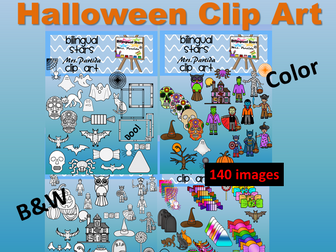Halloween 140 Clipart 87 Color images and 43b&w BilingualStarsPartida Clips