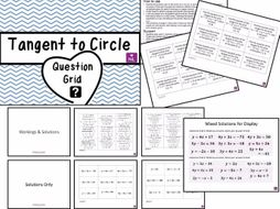 GCSE 9-1 Equation of Tangents to Circle Question Grid Worksheets