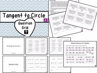 Equation of Tangents to Circle (Question Grid Worksheets)