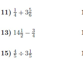 Operations between fractions and mixed numbers worksheet (with solutions)