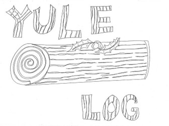 Yule Log: Christmas Colouring Sheet