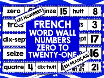 PRIMARY FRENCH NUMBERS 0-21 WORD WALL