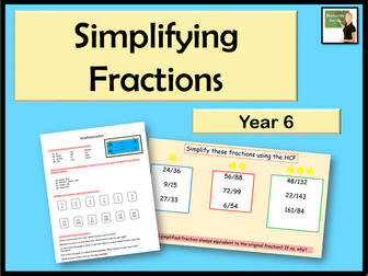 Maths Simplifying Fractions Year 6