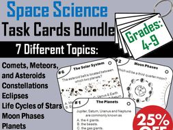 Space Science Task Cards: Astronomy: Moon Phases, Solar System, Planets etc.