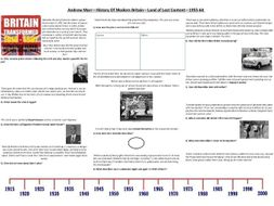 Andrew Marr - History Of Modern Britain - Land of Lost Content - 1955-64 - Supporting Worksheet