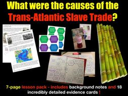 The causes of slavery - 7-page full lesson (notes, hexagonal card sort)