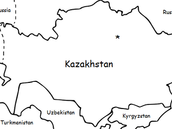 KAZAKHSTAN - Printable handout with simple map and flag