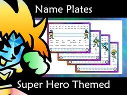 Name Plate Tags: Super Hero Editable