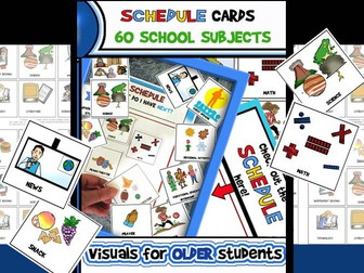 Schedule/Class Subject Cards (Upper Elementary/Middle School) 5 Pages/60 Cards! Schedule/Class Subje