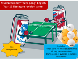 Revision Beer Pong: English Literature style! (AQA)
