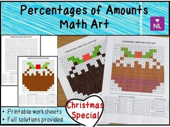 Christmas Maths Percentages of Amounts (Math Art)