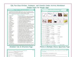 Kitchen Cookware And Utensils Interactive Worksheets For