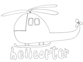 Helicopter: Transport and Travel: Colouring Page