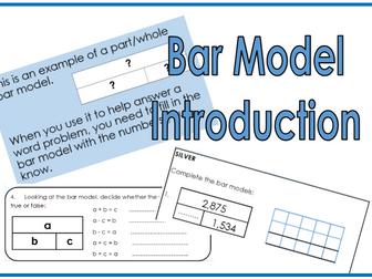 2 days of Bar model introduction and activity sheets for addition and subtraction