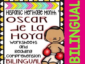 Hispanic Heritage Month - Oscar de la Hoya - Worksheets and Readings (Bilingual)