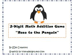 2-Digit Addition Game: Penguin Themed