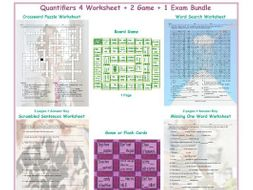 Quantifiers 4 Worksheet-2 Game-1 Exam Bundle