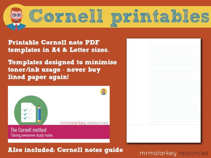 photo regarding Cornell Notes Template Printable identified as Cornell notes: printable templates expert
