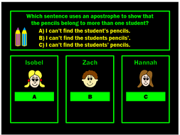 SPAG Test Revision PPT Powerpoint Game for Y4 by Grammatickx
