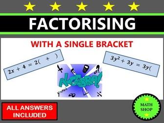 Factorising with a single bracket