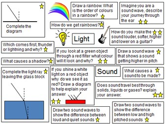 Light and sounds revision activities