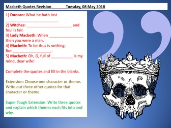 Macbeth Revision - Learning Quotes