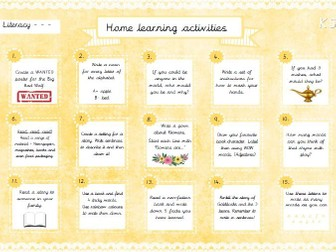 Home Learning Activities - Literacy