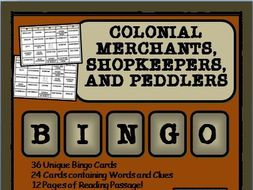 READING PASSAGES AND BINGO: Colonial American Merchants and Shopkeepers