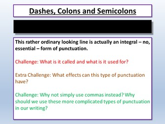 Creative Writing - Dashes, Semicolons and Colons