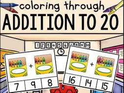 """Addition Clip Cards """"Coloring Through Addition to 20"""""""