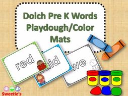 Dolch Pre Kindergarten Word Mats / Color and Black & White with Reading Kids