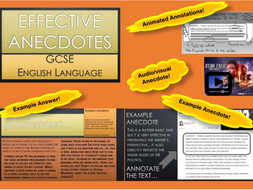 AQA New Spec GCSE English Language - Anecdotes 1hr Lesson PPT and Article Extract