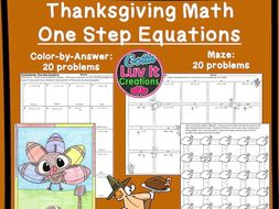Solving Equations Thanksgiving Math One Step Equations With Negatives  Maze & Color by Number Bundle
